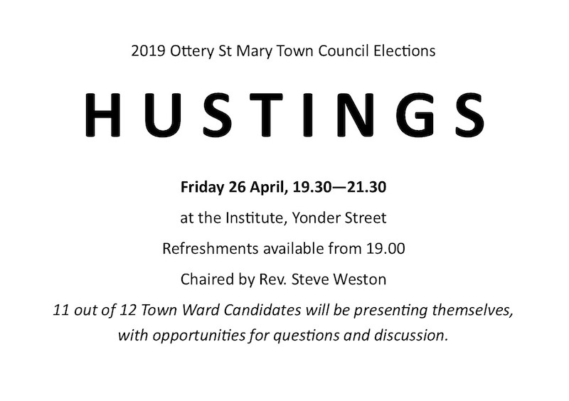 If you live in Ottery St Mary you need to be at THE Hustings tomorrow (Friday) night!
